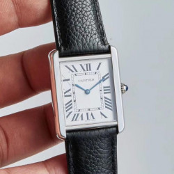 Replica Cartier Tank Solo Ladies 35MM WSTA0028 AF Stainless Steel Silver Dial Swiss Ronda Quartz