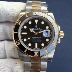 Replica Rolex Submariner Date 116613LN N V8S 24K Yellow Gold Wrapped & Stainless Steel Black Dial Swiss 2836-2