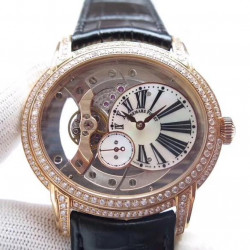 Replica Audemars Piguet Royal Millenary 4101 15350 V9 Rose Gold & Diamonds Rose Gold Skeleton Dial Swiss 4101