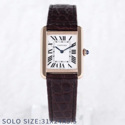 Replica Cartier Tank Solo Ladies 31MM W5200024 AF Rose Gold White Dial Swiss Ronda Quartz