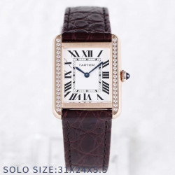 Replica Cartier Tank Solo Ladies 31MM AF Rose Gold & Diamonds White Dial Swiss Ronda Quartz