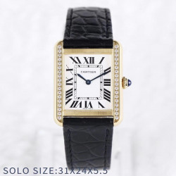 Replica Cartier Tank Solo Ladies 31MM AF Yellow Gold & Diamonds White Dial Swiss Ronda Quartz