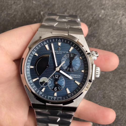Replica Vacheron Constantin Overseas Dual Time 47450 TWA Stainless Steel Blue Dial Swiss 1222 SC
