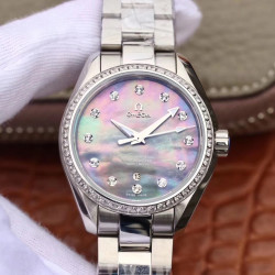 Replica Omega Seamaster Aqua Terra 150M Ladies 34MM 220.10.34.20.55.001 3S Stainless Steel Blue Mother Of Pearl Dial Swiss 8520