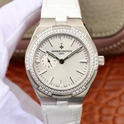 Replica Vacheron Constantin Overseas Automatic 37MM 2305V Noob Stainless Steel & Diamonds White Dial Swiss 5300
