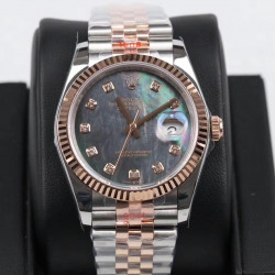 Replica Rolex Datejust 36MM 116231 GM Stainless Steel 904L & Rose Gold Grey Mother Of Pearl Dial Swiss 2824-2