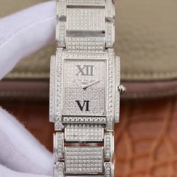Replica Patek Philippe Ladies Twenty-4 4910/10A AW Stainless Steel & Diamond Diamond Dial Swiss Ronda Quartz