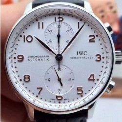 Replica IWC Portuguese IW371401 Chronograph Stainless Steel White Dial Rose Gold Markers Swiss IWC 89000