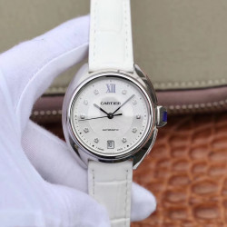 Replica Cle De Cartier 40MM WSCL0018 ZY Stainless Steel White Dial M9015