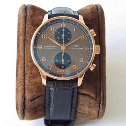Replica IWC Portugieser Chronograph IW371482 ZF V2 Rose Gold Chocolate Dial Swiss 7750