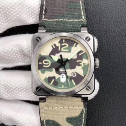 Replica Bell & Ross BR 03-92 Steel Bape Noob V3 Stainless Steel Camouflage Apes Dial M9015