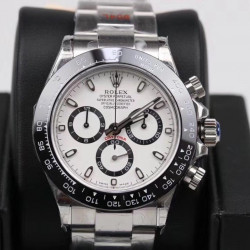 Replica Rolex Daytona Cosmograph 116500LN GM Stainless Steel 904L White Dial Swiss 4130 Run 6@SEC