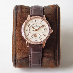 Replica Jaeger-LeCoultre Ladies Rendez-Vous Night & Day 3442440 34MM ZF Rose Gold & Diamonds White Dial Swiss 898A/1
