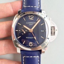 Replica Panerai Luminor 1950 3 Days GMT Acciaio PAM688 VS V2 Stainless Steel Blue Dial Swiss P9001