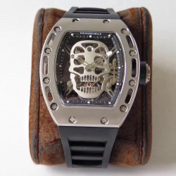 Replica Richard Mille RM052 EUR Titanium Skeleton Silver Skull Dial Swiss Tourbillon