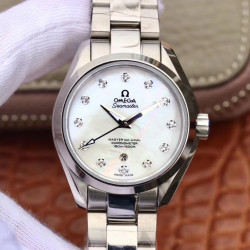 Replica Omega Seamaster Aqua Terra 150M Ladies 34MM 220.10.34.20.55.001 3S Stainless Steel Mother Of Pearl Dial Swiss 8520