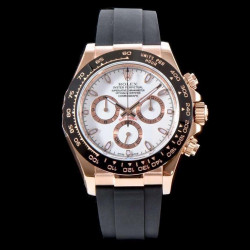Replica Rolex Daytona Cosmograph 116515LN AR V2 Rose Gold Plated Stainless Steel 904L White Dial Swiss 4130 Run 6@SEC