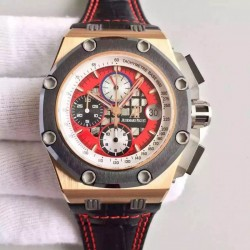 Replica Audemars Piguet Royal Oak Offshore Rubens Barrichello II 26284RO.OO.D002CR.01 JF V2 Rose Gold Red Dial Swiss 3126