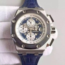 Replica Audemars Piguet Royal Oak Offshore Rubens Barrichello II 26078PO.OO.D018CR.01 JF V2 Stainless Steel Blue Dial Swiss 3126