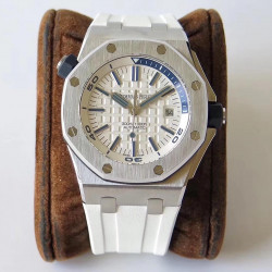 Replica Audemars Piguet Royal Oak Offshore Diver 15710ST.OO.A010CA.01 JF V8 Stainless Steel White Dial Swiss 3120