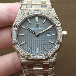 Replica Audemars Piguet Royal Oak 67651 Ladies Rose Gold & Diamonds Gray Dial Swiss Quartz 2713