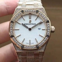 Replica Audemars Piguet Royal Oak 67651 Ladies Rose Gold & Diamonds White Dial Swiss Quartz 2713