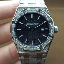 Replica Audemars Piguet Royal Oak 67651 Ladies Stainless Steel & Diamonds Black Dial Swiss Quartz 2713