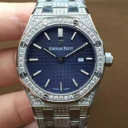 Replica Audemars Piguet Royal Oak 67651 Ladies Stainless Steel & Diamonds Blue Dial Swiss Quartz 2713