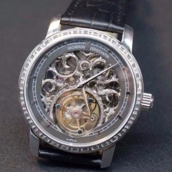 Replica Vacheron Constantin Patrimony Tourbillon Stainless Steel & Diamonds Skeleton & Gray Dial Swiss Tourbillon