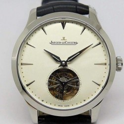 Replica Jaeger-LeCoultre Master Ultra Thin Tourbillon Stainless Steel  White Dial Swiss Tourbillon