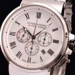 Replica Ulysse Nardin Marine Chronograph Stainless Steel Roman Numbers White Dial Swiss 7750