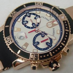 Replica Ulysse Nardin Maxi Marine Diver Chronograph Rose Gold White Dial Swiss 7750