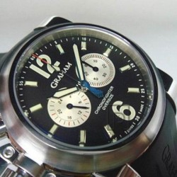 Replica Graham Chronofighter Oversize Stainless Steel Black & Silver Dial Swiss 7750