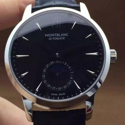 Replica Montblanc Meisterstuck Heritage Moonphase Stainless Steel Black Dial Swiss 2914