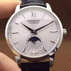 Replica Montblanc Meisterstuck Heritage Moonphase Stainless Steel Stainless Steel Markers White Dial Swiss 2914