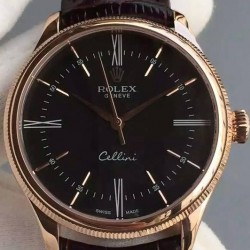 Replica Rolex Cellini Time 50505 Rose Gold Black Dial Swiss 2824-2