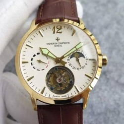 Replica Vacheron Constantin Malte Tourbillon RG White Dial on Black Leather Strap