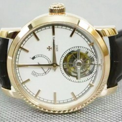 Replica Vacheron Constantin Patrimony Tourbillon 24K Rose Gold Plated White Dial Swiss Tourbillon