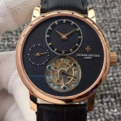 Replica Vacheron Constantin Patrimony Tourbillon Rose Gold Black Dial Swiss Tourbillon