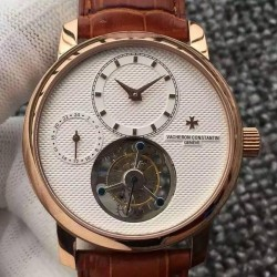 Replica Vacheron Constantin Patrimony Tourbillon Rose Gold White Dial Swiss Tourbillon