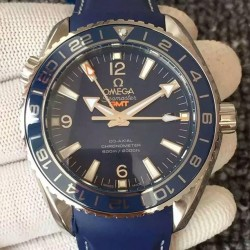 Replica Omega Seamaster Planet Ocean GMT Stainless Steel Blue Dial Swiss 8605
