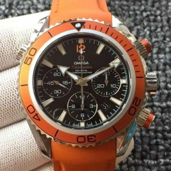 Replica Omega Seamaster Planet Ocean Chronograph Stainless Steel Black Dial Swiss 7750