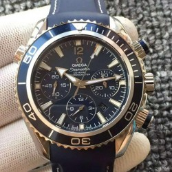 Replica Omega Seamaster Planet Ocean Chronograph Stainless Steel Blue Dial Swiss 7750