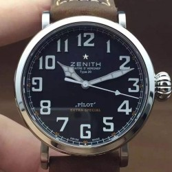 Replica Zenith Pilot Extra Special SS/LE Black Dial on Leather Strap