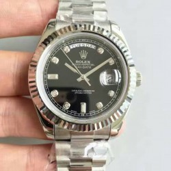 Replica Rolex Day-Date II 218239 41MM V6 Stainless Steel Black Dial Swiss 2836-2
