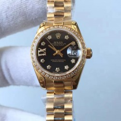Replica Rolex Lady Datejust 28 279138RBR 28MM Yellow Gold & Diamonds Black Dial Swiss 2671