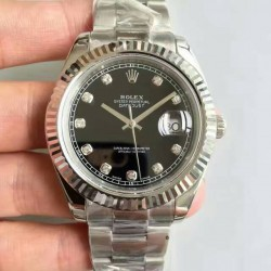 Replica Rolex Datejust II 116334 41MM NF Stainless Steel Black & Diamonds Dial Swiss 2836-2