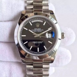 Replica Rolex Day-Date 40 228206 40MM KW Stainless Steel Black Diagonal Dial Swiss 3255