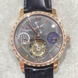 Replica Vacheron Constantin Patrimony Tourbillon Rose Gold & Diamonds Black Dial Swiss Tourbillon