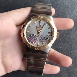 Replica Omega Constellation 123.20.38.21.52.002 38MM V6 Stainless Steel & Yellow Gold Silver & Diamonds Dial Swiss 8500
